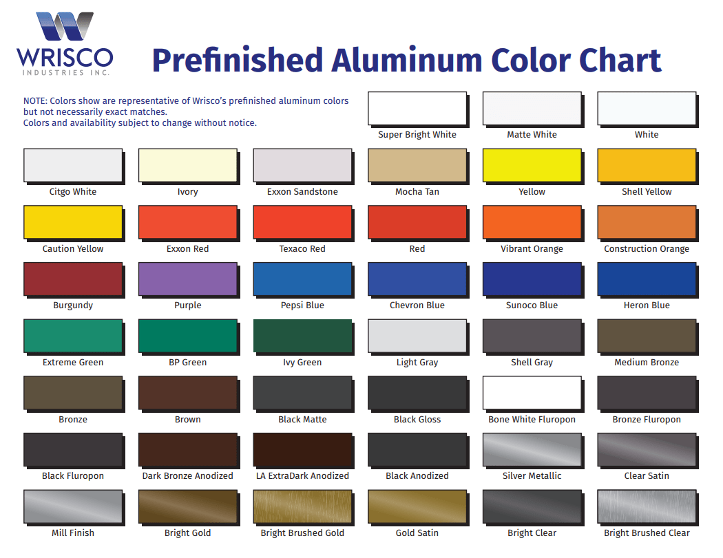 Color chart wrisco industries inc color chart nvjuhfo Choice Image